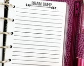 Pocket Brain Dump printed planner insert refill - lined paper - note taking - #321
