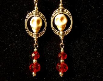 Red Skull Dangle Earrings