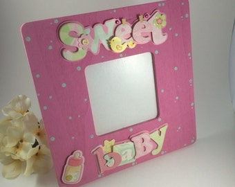 "New baby gift-Cute Pink ""Sweet Baby"" Picture Frame - Baby shower gift-custom picture frame- Push gift-picture frame for new baby"