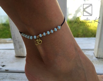 Light Blue Anklet | Ankle Bracelet | Gold Anklet | Foot Jewelry | Foot Bracelet | Summer Jewelry | Beach Jewelry | Crystal Anklet