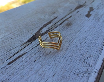 Gold Ring | Minimalist Ring, Geometric Ring, V Ring, Three Lines Ring, Valentines Day Gift, Simple Gold Rings | Delicate Ring | Gift for Her