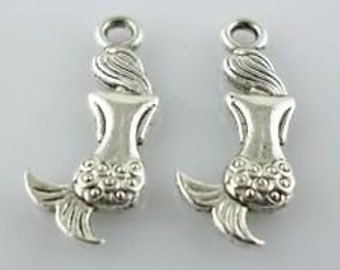 Silver mermaid charm 10 charms 20x8 mm silver charms