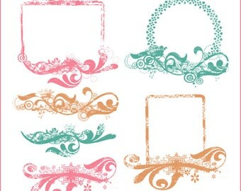 Junque frames and headers clipart, vintage clipart, image transfers, steampunk images, vintage frame, grungy frame, P 235