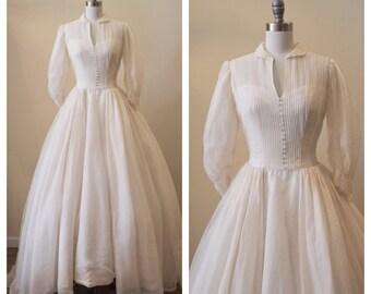 Vintage 1950s Silk Organza Wedding dress with pin tucks and puff sleeves