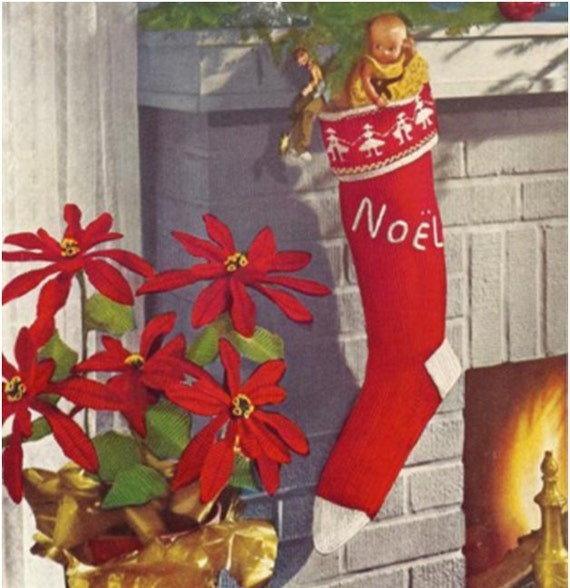 Vintage Christmas Stocking Knitting Pattern : Christmas Stocking Pattern Knitting Pattern Vintage 1950s