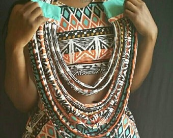 African Tribal Print Necklace