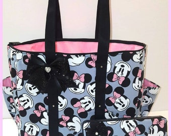 Minnie Mouse diaper bag. Tote. Black Glitter bow. Matching wipe case.