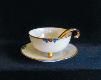 Hand Painted Footed Porcelain Mayonnaise Bowl with Under Plate and Ladle dated 1919