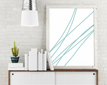 Abstract Line Art, Minimalist Art, Turquoise, Line Drawing, Printable Art, Abstract Print, Abstract Wall Print, Wall Decor, Digital Download