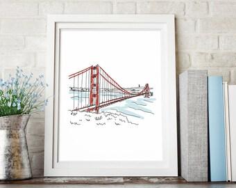 San Francisco Golden Gate Bridge Art Print, Sketch Art, Line Drawing, Printable Art, Instant Digital Download, Wall Decor, Minimalist Poster
