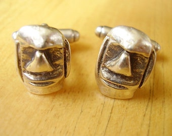 One Pair Sterling Silver Moai Easter Island Head Cufflinks