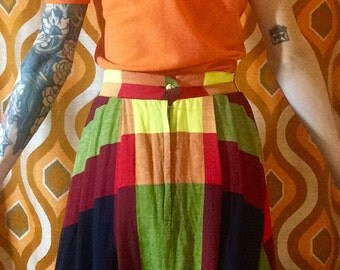 1950s Lovely Fall Colors in Wide Plaid  Circle Skirt Small Alice of California Brand