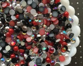 5mm Rhinestone and Pearl Mix - Red Queen Mix - SS20 Flat Back Half Round Pearls - AB Rhinestone Mix