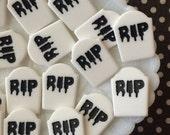 RIP resin gravestone markers, creepy cute tombstone cabochons, halloween embellishments , gravestone cabochons