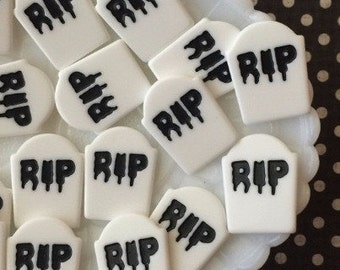 RIP resin gravestone markers, creepy cute tombstone cabochons, halloween embellishments , gravestone cabochons