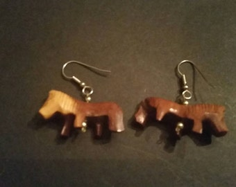Vintage Wood Animal Earrings Lion Dangle Tribal Jewelry