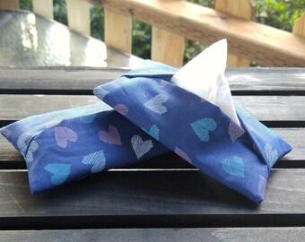 Blue Hearts Tissue Pockets