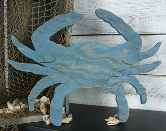 Blue Crab Decor Crab Sign Wooden Crab Wall Art Seafood Sign Seafood Restaurant Decor Crab Wall Decor Beach House Decor Coastal Decor