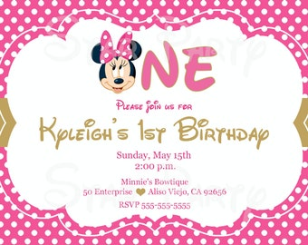 Minnie Mouse, Minnie, 1st Birthday, First, Birthday, Invitation, Kid's Birthday Party Invite, Birthday Invitation