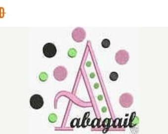 HUGE SALE Instant Download Embroidery Machine Designs Fonts Alphabet Polka Dots PES Format