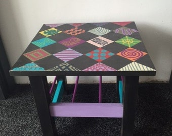 Aztec style side table. Hand-painted, bespoke, one off, truly unique, vibrant colours