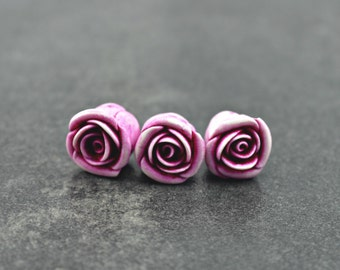 Wild Rose Bead, polymer clay rose bead
