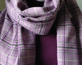 Flannel Scarf, Purple and White Plaid Scarf, Plaid Flannel Scarf, Purple Plaid Flannel, Gift for Her, Gift,  Plaid Scarf,FREE SHIPPING