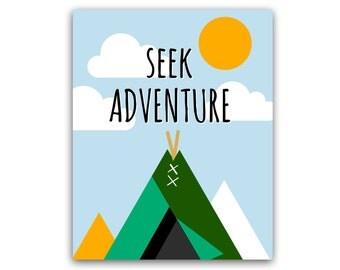 Seek Adventure Art print - 8x10- Nursery/Childrens's Print Art, Mountains and Sun- No Frame- instant download