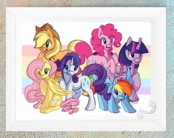MLP My Little Pony FIM Twilight Sparkle Applejack Rarity Fluttershy Pinkie Pie and Rainbow Dash Fan Art Print Brony Gift Handmade Design