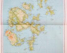 Orkney Islands, Scotland - Huge 1930s Antique Map, Linen Backed Folding Colour Map