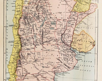 Antique Map of Argentina, South America. Encyclopedia Britannica, 1870s