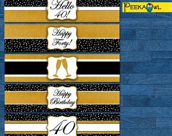 Instant Download Black gold dots Champagne 40th birthday water bottle labels - 40th birthday water labels - Party water labels for women!!!