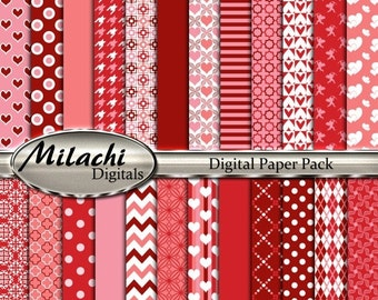 70% OFF SALE Valentine's Day Digital Paper Pack, Scrapbook Papers, Commercial Use - Instant Download - M225
