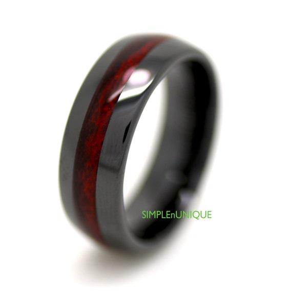 Black Ceramic Mens Wedding Band Mens Ring Ceramic by SIMPLEnUNIQUE