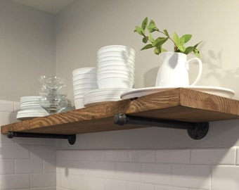 "10"" Depth Rustic Industrial Floating Shelf Industrial pipe brackets, Wall shelve, Pipe shelving, Rustic wood shelf"