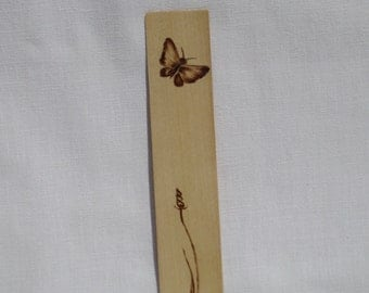 wood bookmark with butterfly