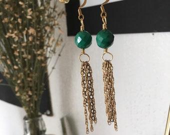 Malachite Tassel Earring