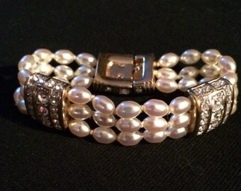 Swarovski Faux Pearl & Rhinestone Bracelet
