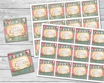 Shabby Chic 1st Birthday Thank You Labels / Vintage 1st Birthday Girl / DIY Printable / Digital File