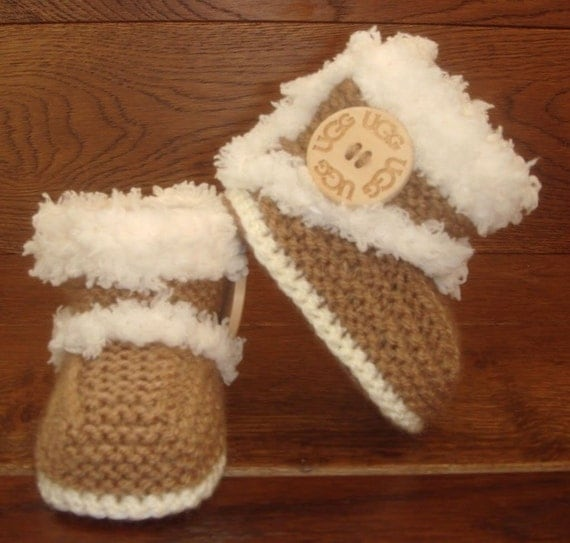 Hand Knitted Baby Booties Boots Slippers Shoes Ugg Elle