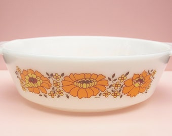Casserole Dish, Pyrex Dish, Ovenproof, Sunflower Pattern, Orange Flowers, Oven to Table Dish, Serving Dish, Vintage Kitchen, White - 1970s