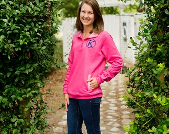Preppy Pink Gingham Pullover Personalized, Large Only