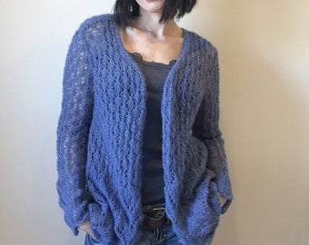 MADE TO ORDER / Soft Alpaca Women Hand Knitted Cardigan / Lace Pattern /Lilac Denim Blue
