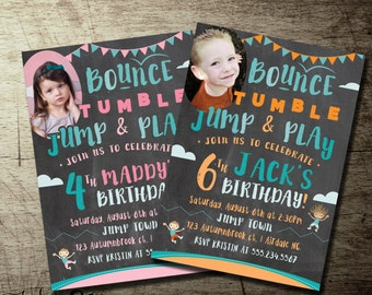 Jump Birthday Invitation, Trampoline Party Invitations, Photo, 4th birthday, 6th birthday Any Age!, High quality printable invitation