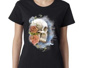 Sugar Skull -Calavera Tshirt -Rose Tshirt -Day Of The Dead -Sugar Skull Tshirt -Womens Shirt -Ladies Tshirt -Ladies Shirt -Shirt -Tshirt