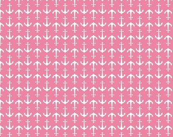 Riley Blake Anchors fabric in hot pink nautical anchor print pink fabric Riley Blake designs basic anchors in hot pink with white anchor