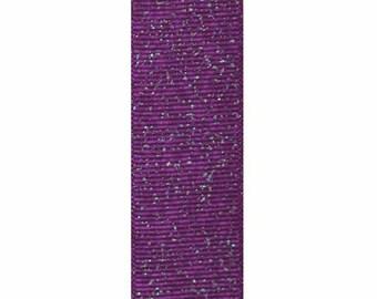 1 inch purple glitter grosgrain ribbon by the yard, sewing craft floral glitter ribbon, purple glitter hair bow ribbon sold by the yard