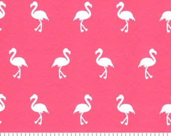 pink flamingo fabric in coral by Fabric Finders, fabric by the yard, nautical beach apparel sewing quilting fabric