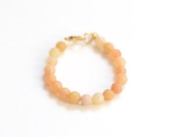 Orange Semi-Precious Stone Bracelet, girls 6mm bead bracelet, autumn bracelet