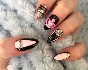 FALSE NAILS - Black and Pink Crown  - Stick On - The Holy Nail UK